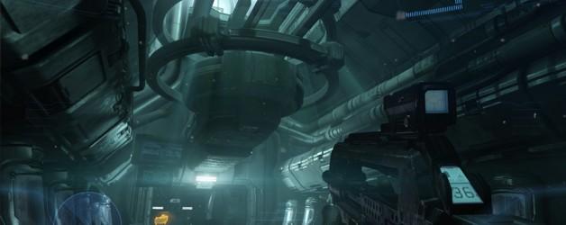 A dark empty ships corridor